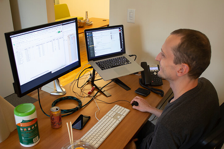 Developer working at desk