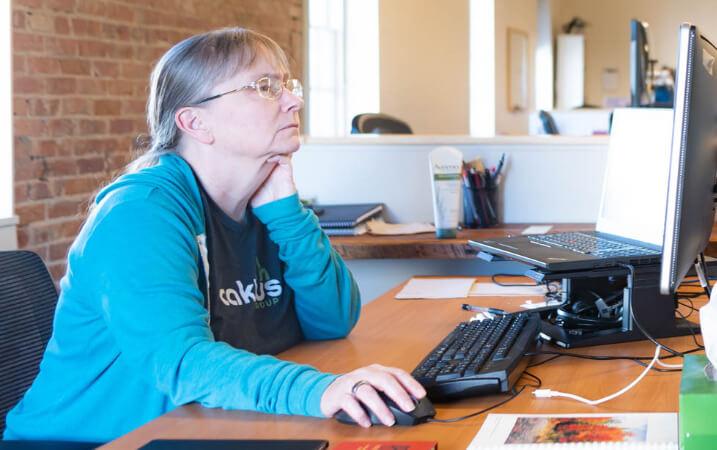 Developer works at desk