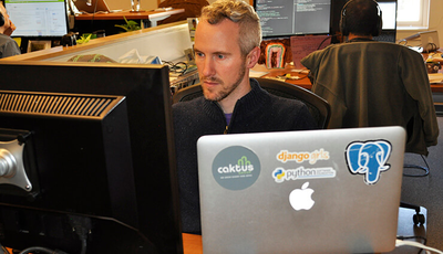 Caktus CEO Tobias McNulty working at his desk