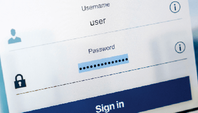 sign in page with space for name and password