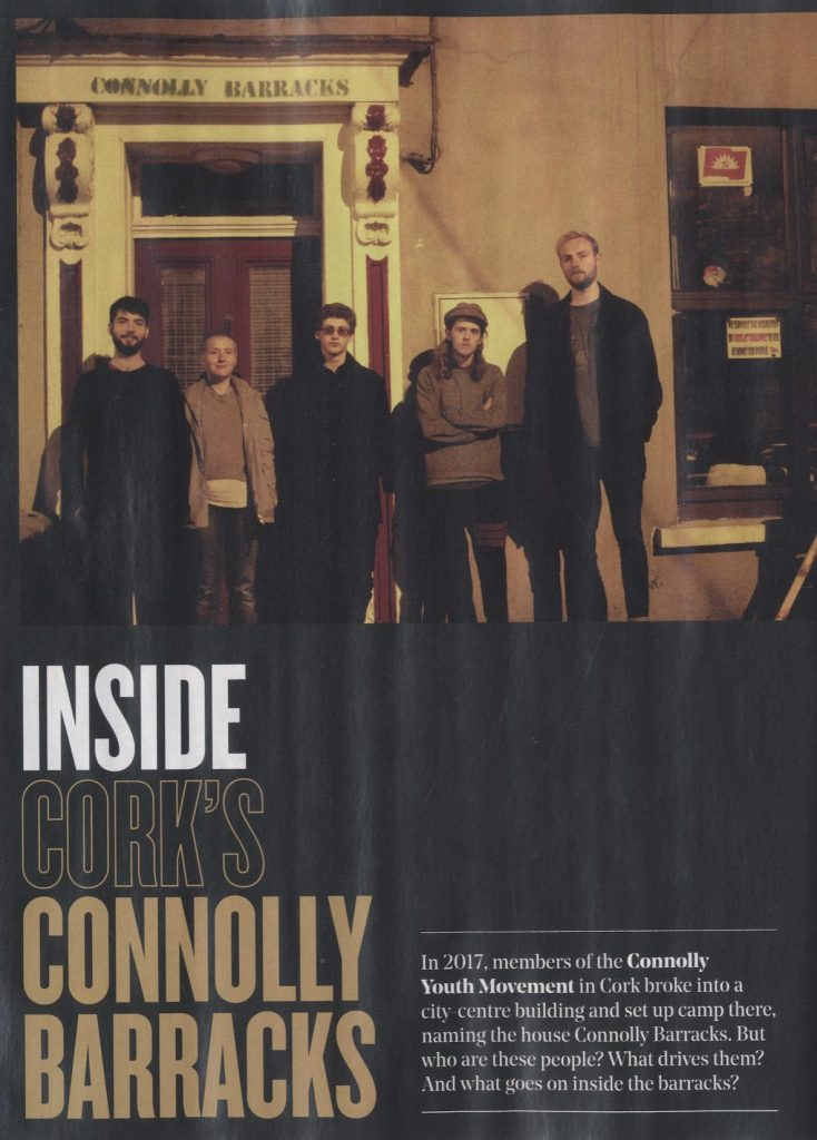 The first page of the print edition of Hotpress' article on Connolly Barracks