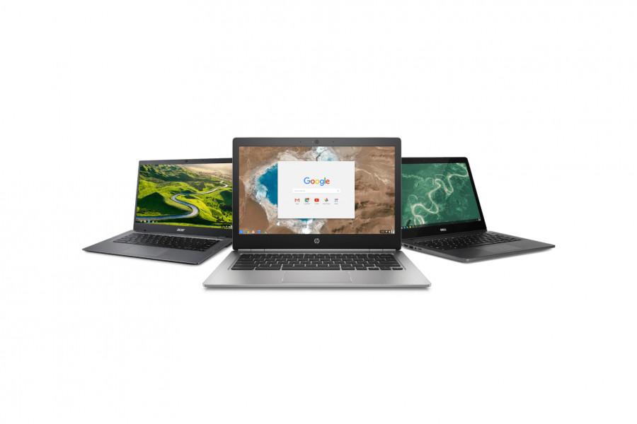 The image shows a section of Chromebooks, from Acer, Dell and HP.