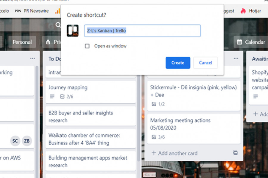 The image shows the create shortcut confirmation dialogue in the Chrome browser.