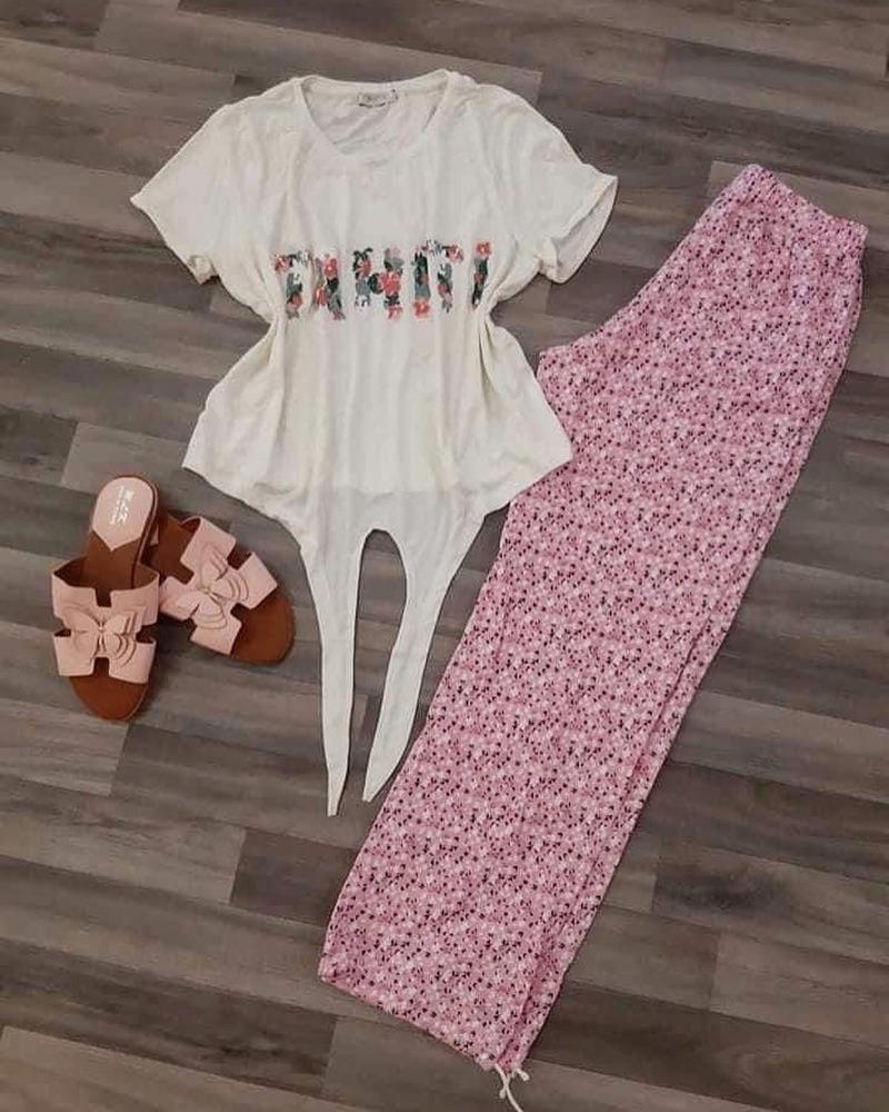 Très beau pyjama 100% coton 2en1 pantalon et pantacourt