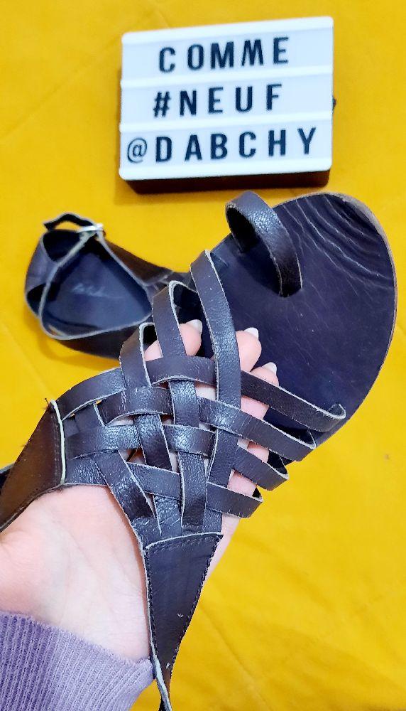 Sandales vrai cuir marron