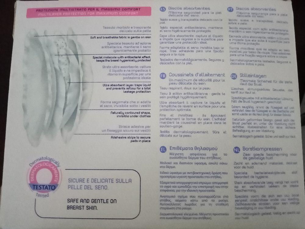 Breast pads antibacteriens Chicco pour absorber l'excédent de lait maternel