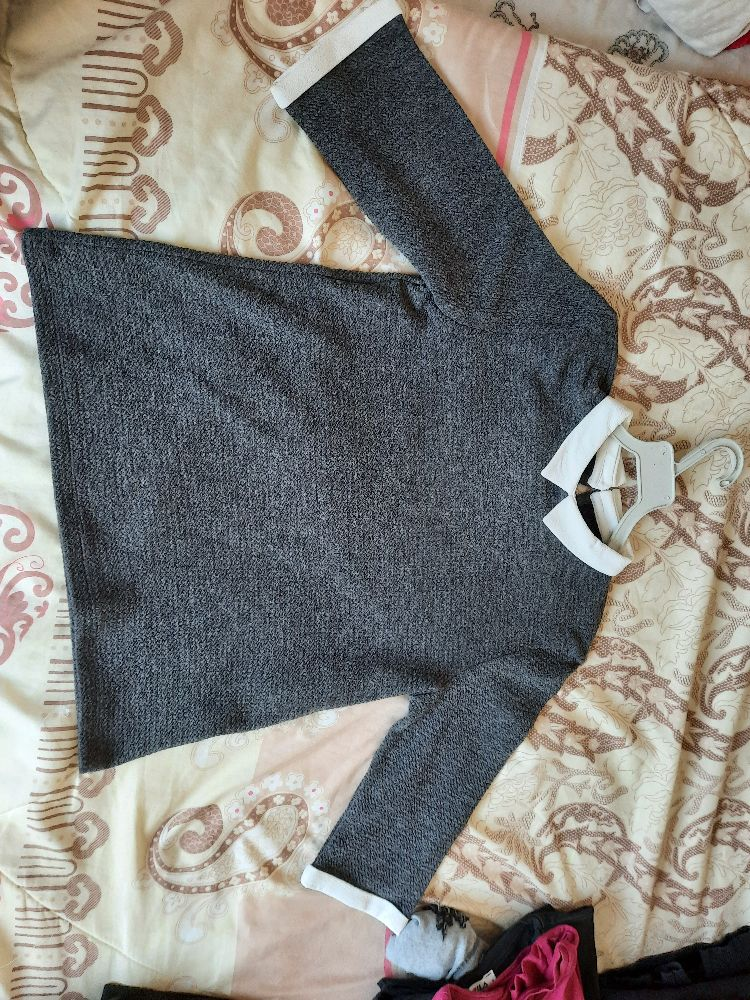Pull  gris mancge 3/4