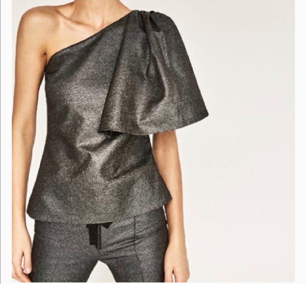 Zara Metallic One Shoulder Top