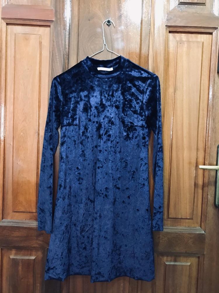 Robe bleue velours pull&bear