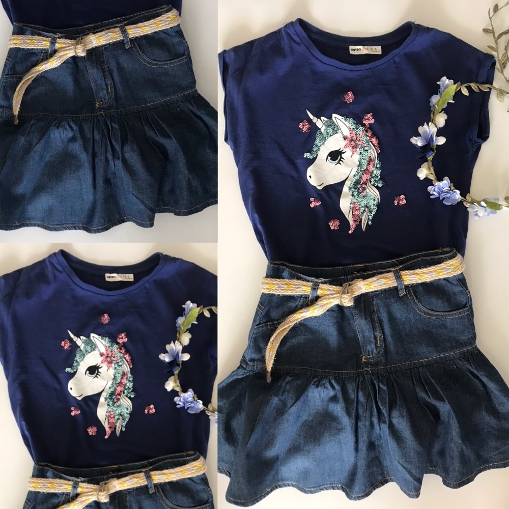 Pull kotton+ jupe jean Max girl taille 5/6ans