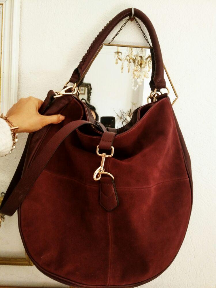 Grand sac H&M burgandy daim et simili-cuir