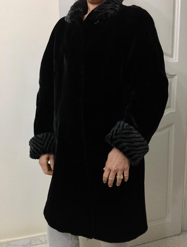 Manteau forrure noir