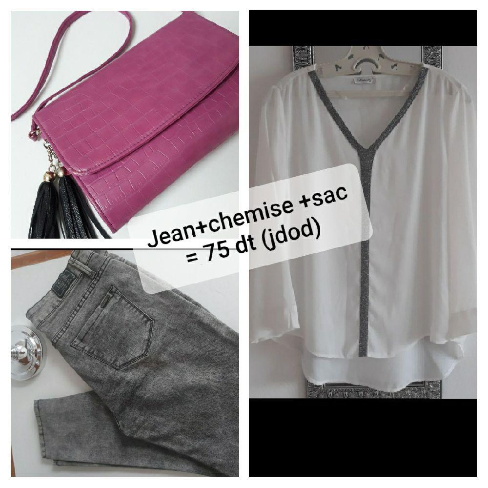 Jean+chemise+sac à Bandoulière