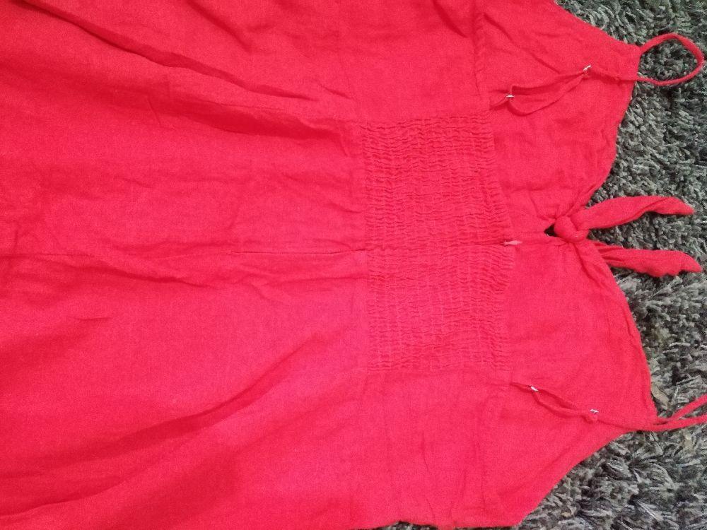 Robe rouge mini en lin