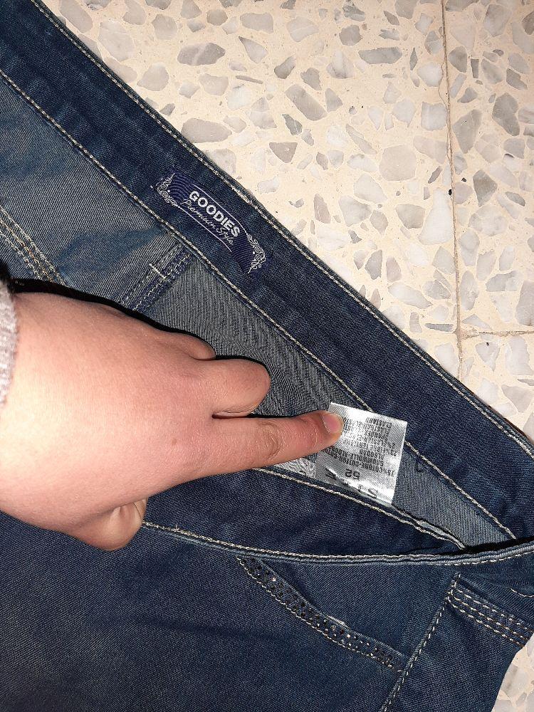 Pantallon djean grand taille maktoub 3lih 52 mais howa ilabas 50