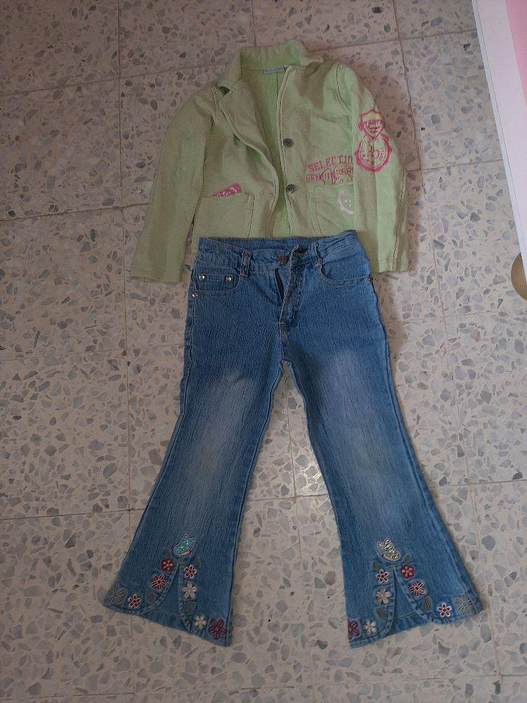Veste en coton et pantalon djean ilabsou de 4 a 5 ans
