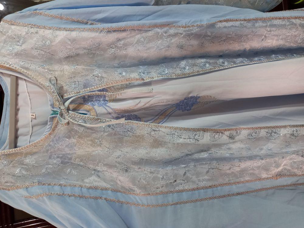 Koftan 2 pièces couleur bleu ciel tendance