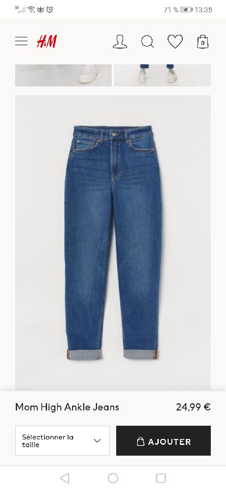 Jean H&M mom taille haute
