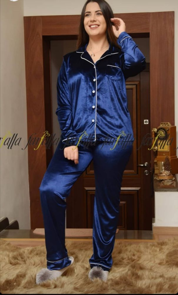 Pyjama chemise velours