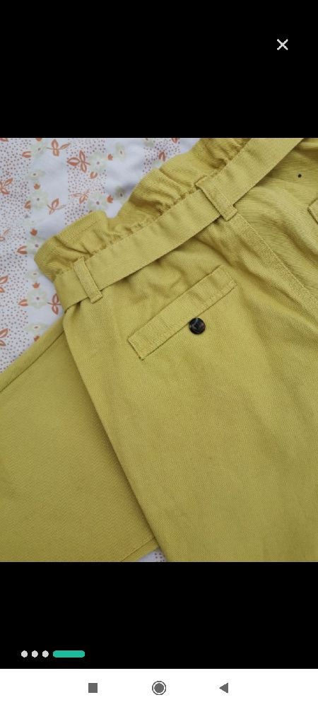 Pantalon Mom tendance jaune ocre 42