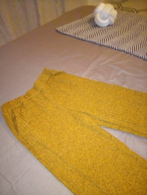 Pantalon large jaune moutarde