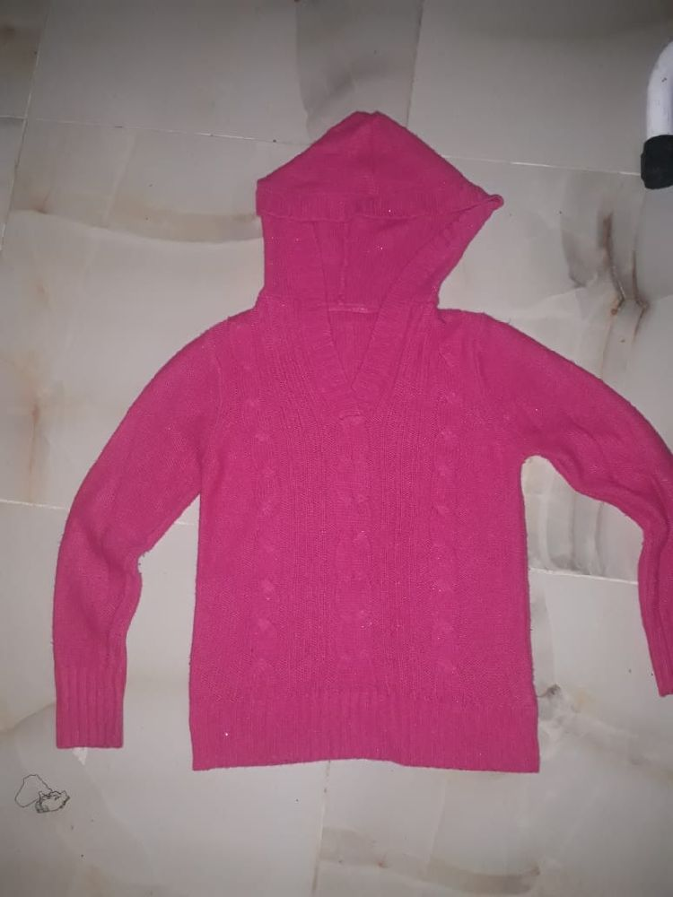 Capuche en laine rose faushia