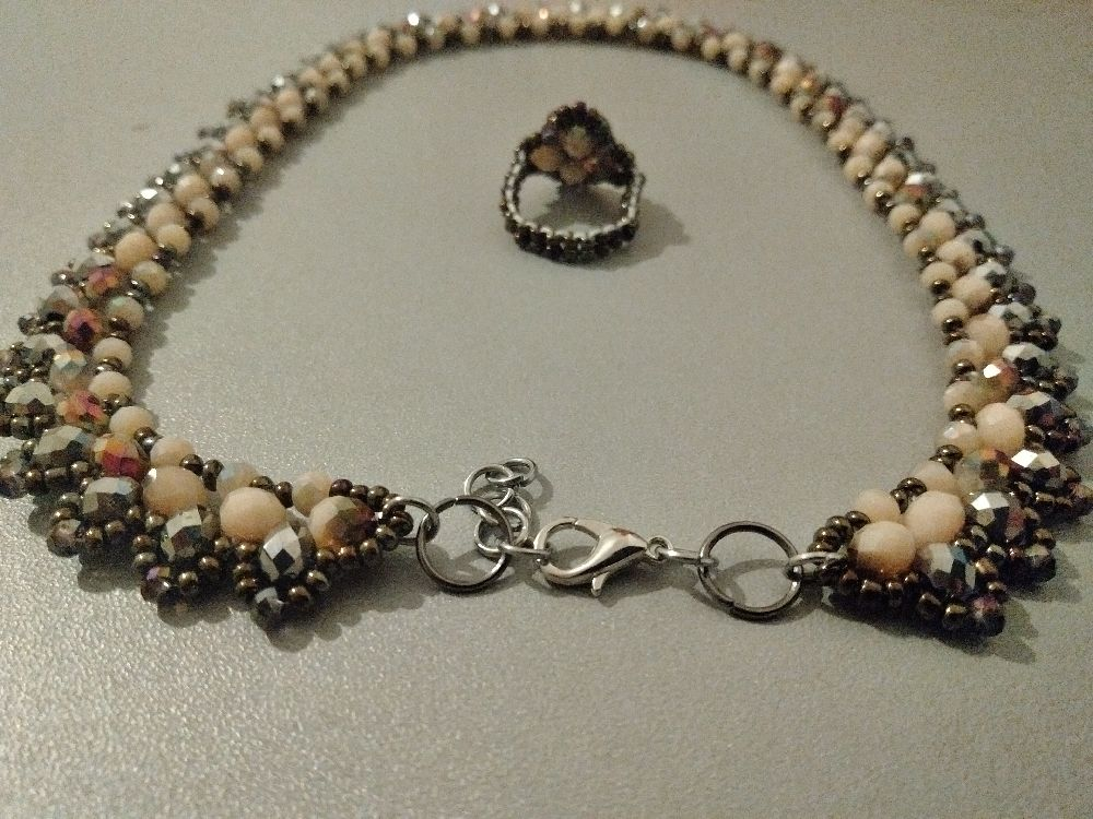 Stone beads collier+bague (article#209)
