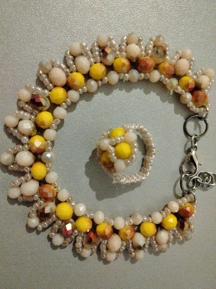 Stone beads bracelet+bague (article#211)