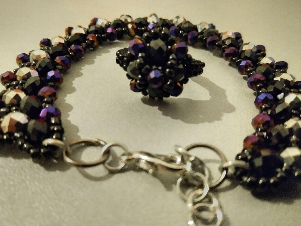 Stone beads bracelet+ bague ( article#211)
