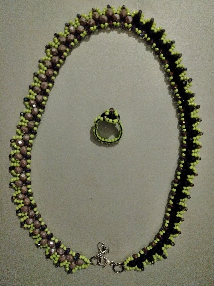 Stone beads collier+bague (ARTICLE#207)