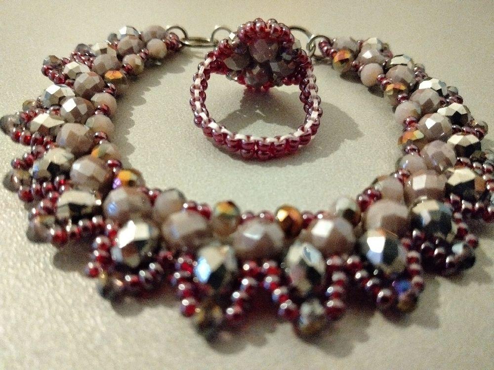 Stone beads bracelet+bague (article#210)