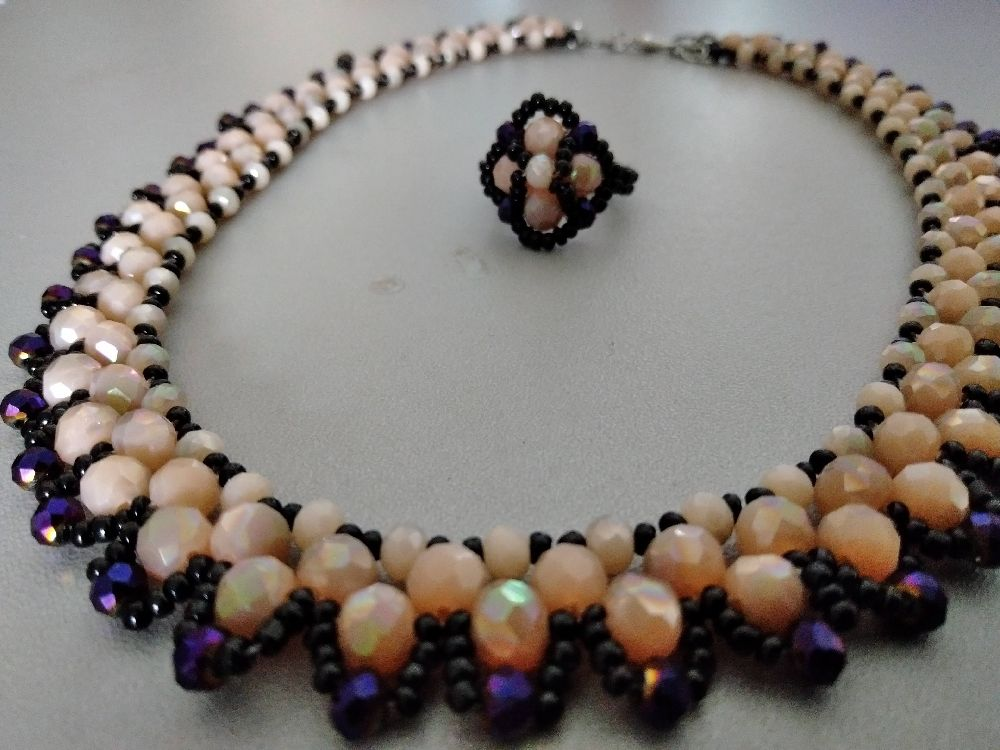 Stone beads collier+bague (article#208)