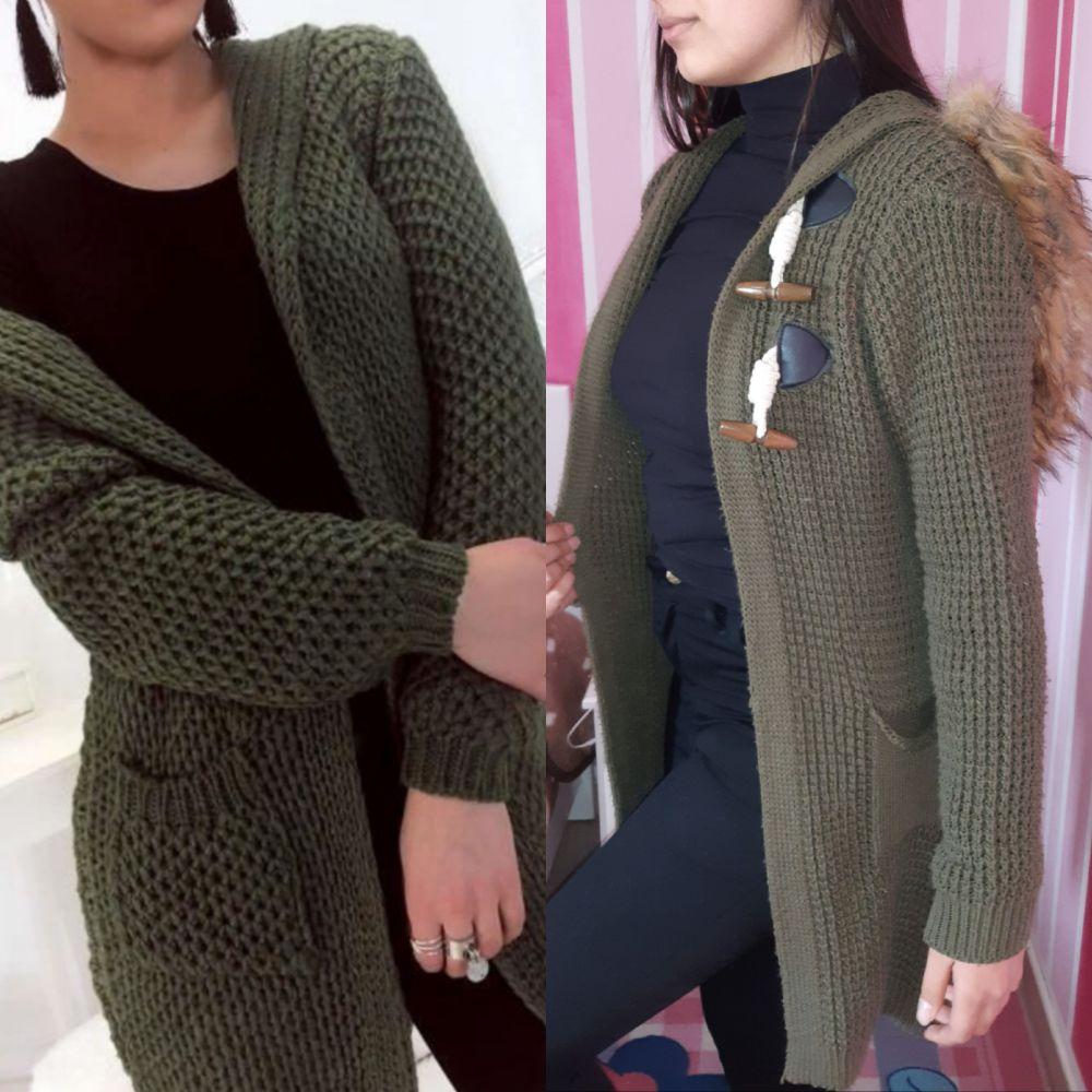 Gilet en laine avec capuche
