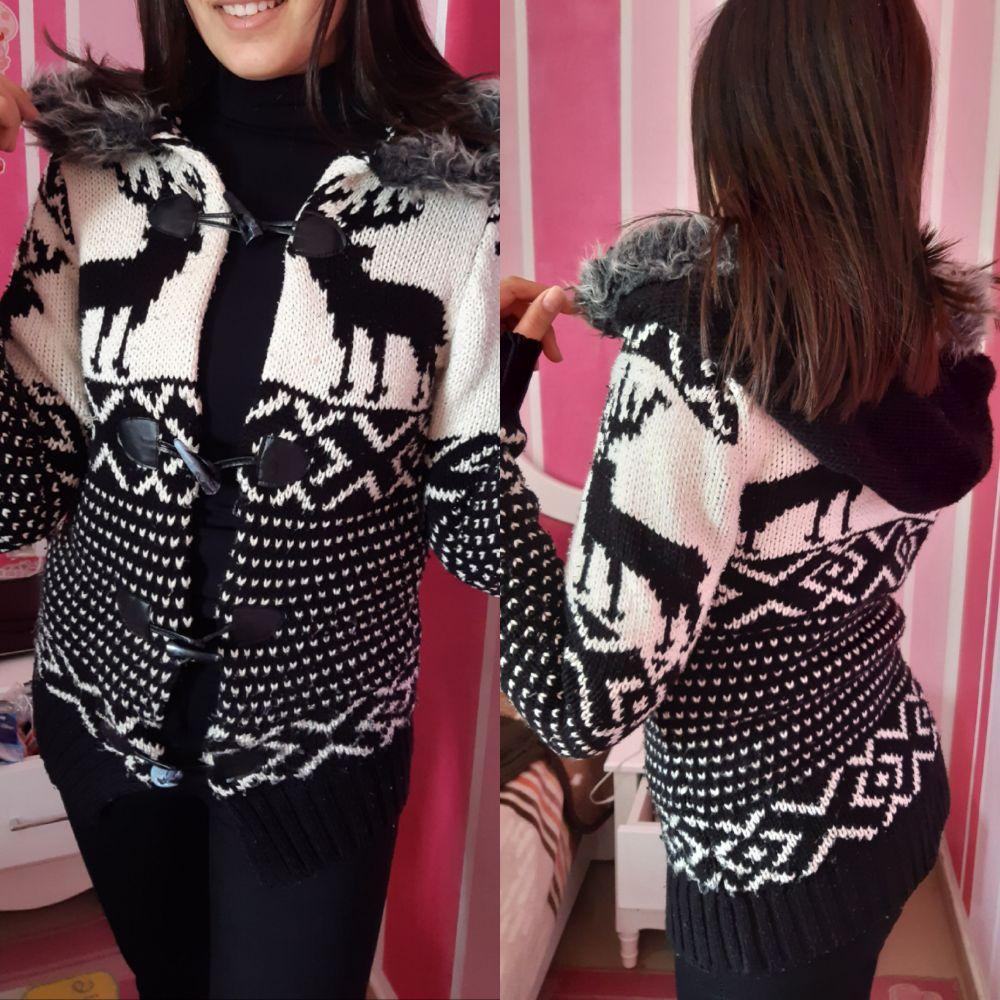 Gilet en laine noire et blanc