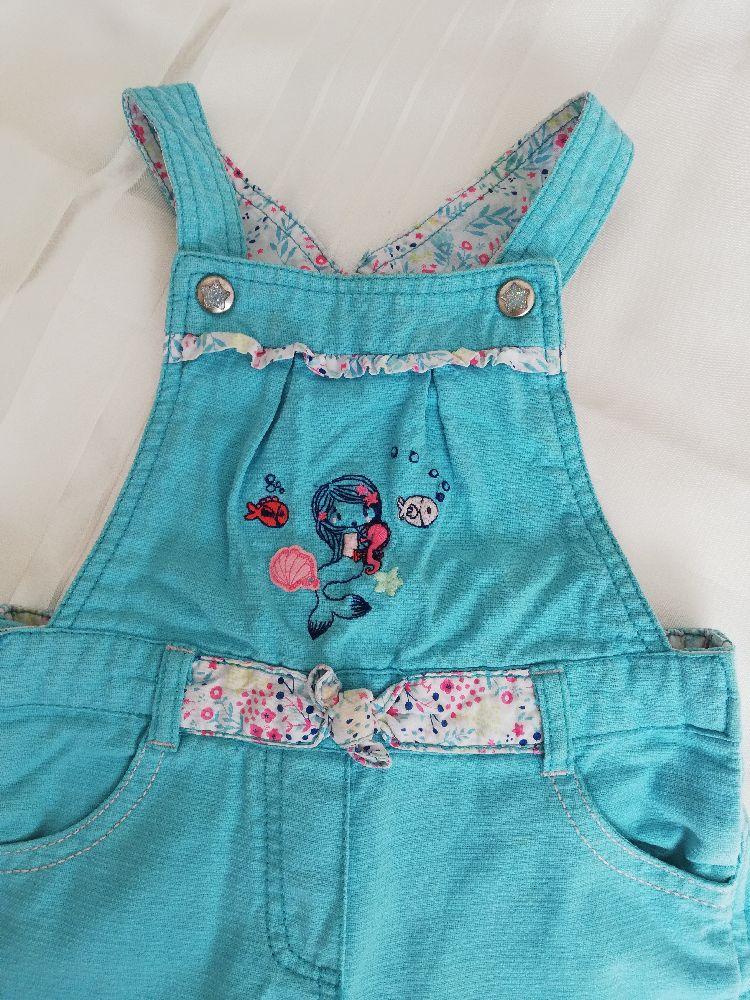 Belle salopette à taille réglable pour fille 18 mois de couleur turquoise