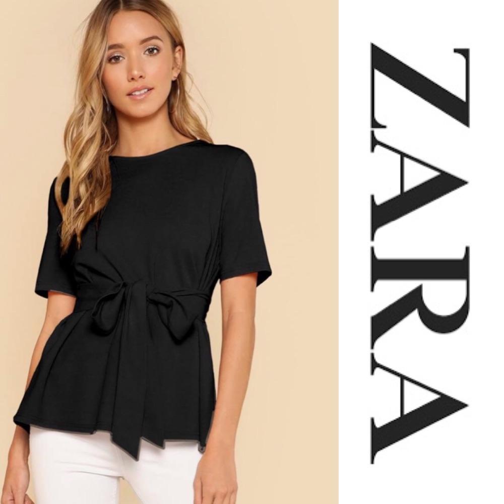 Blouse Zara avec ceinture à nouer trés chic
