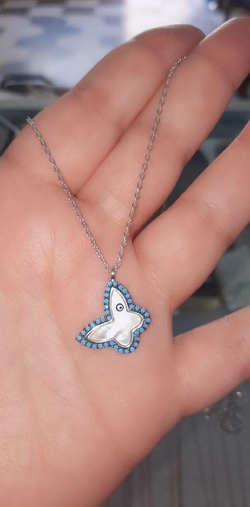Collier en argent platine papillon oeil bleu