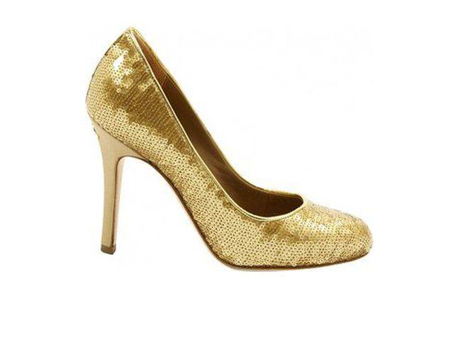 Escarpins séquins doré