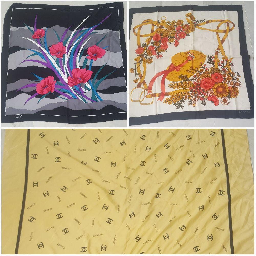 Lot de trois foulards chanel et hermes