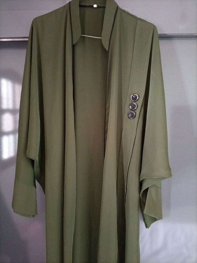 Abaya vert militaire bl selsla noir taille s w m w l