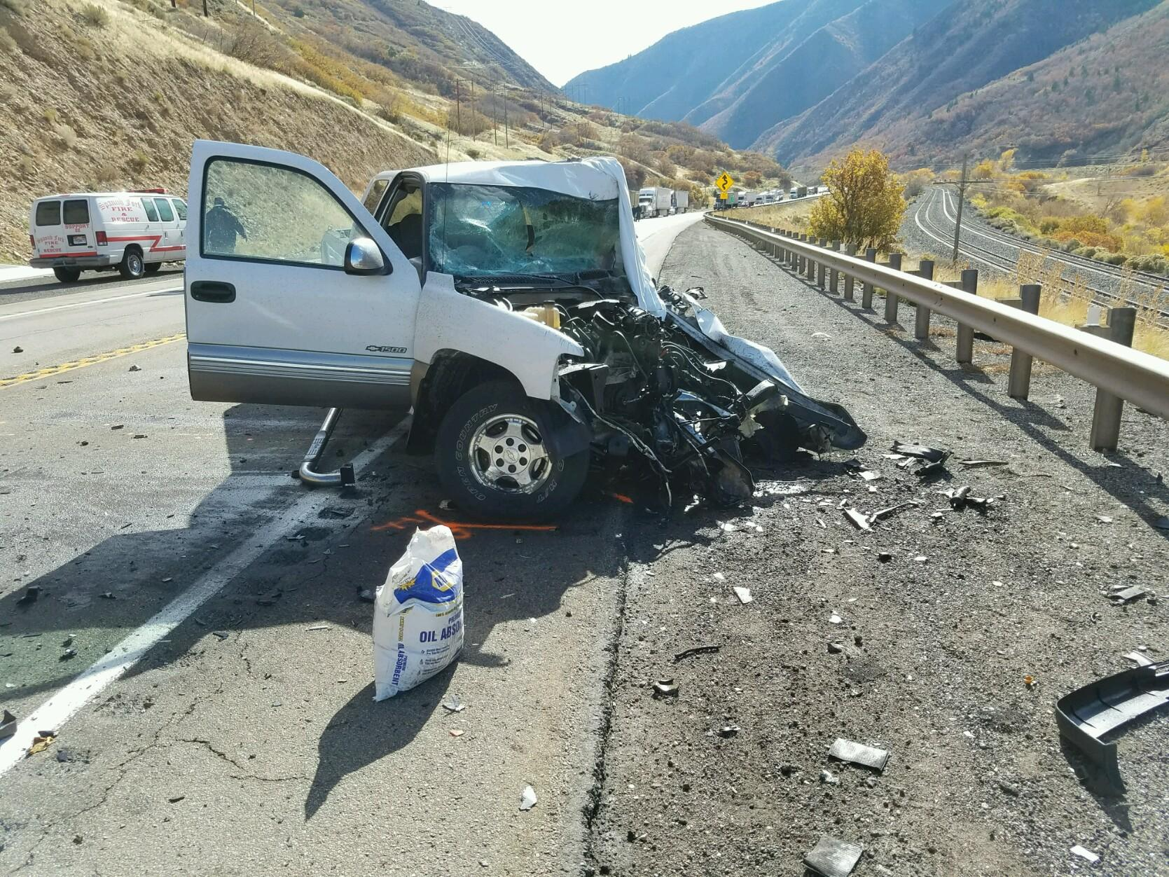 One Person Is Dead After A Head On Collision Between Pickup Truck And Semi Tuesday Morning At The Mouth Of Spanish Fork Canyon Photo Courtesy Uhp