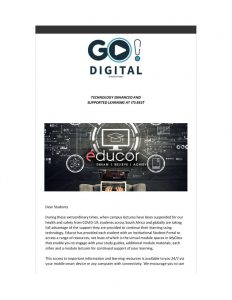 Go!Digital Communication to Students 25 March 2020
