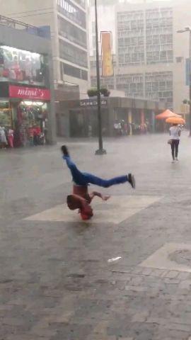 amazing rain bboy dance..