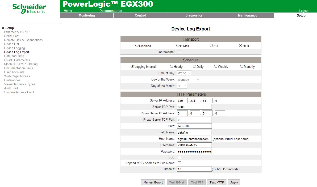 Impostazioni EGX300