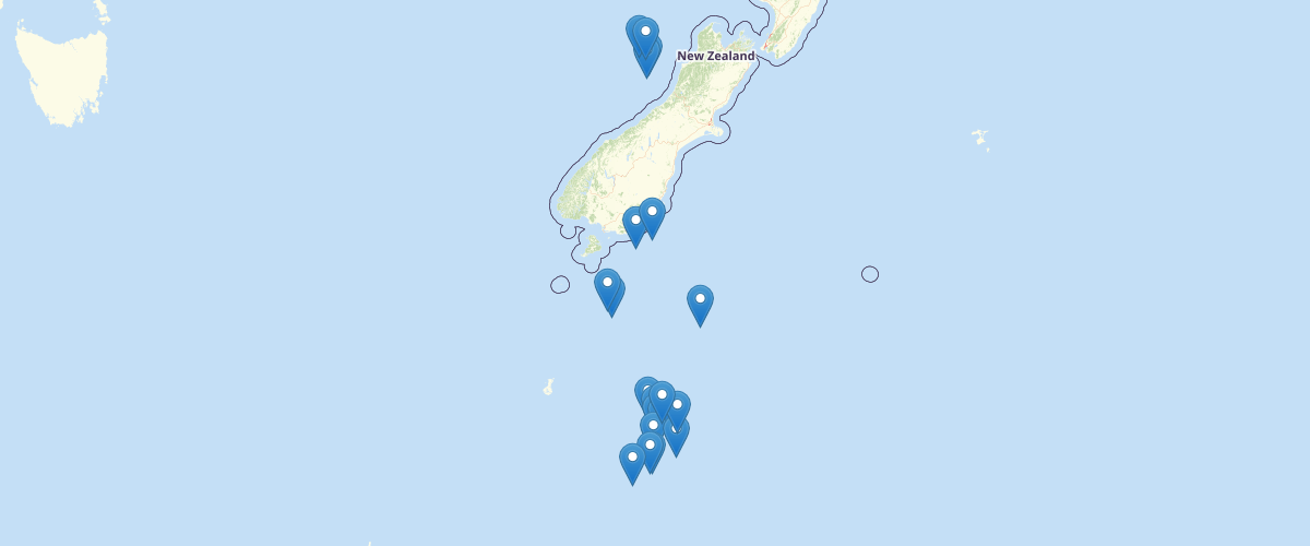 NZODN Fisheries Research Voyages Sites