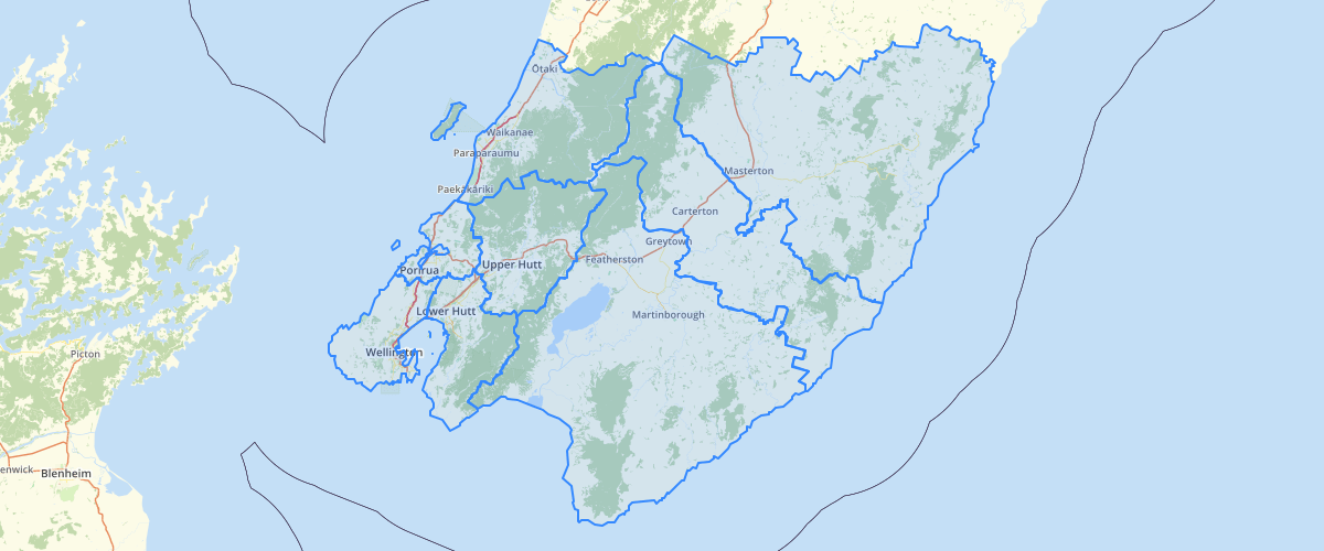 Wellington Regional Council Local Government Boundary Labels