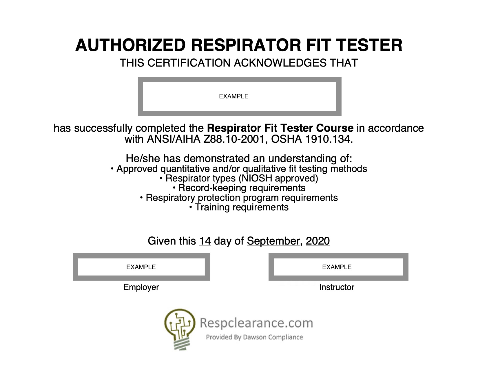 RespClearance.com - Respirator Medical Evaluation and Fit Tester For Osha 10 Card Template