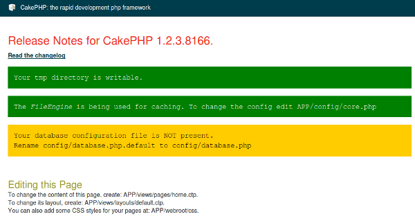 CakePHP index page