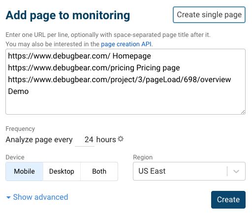 Bulk website monitoring setup