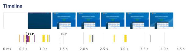 Web performance filmstrip